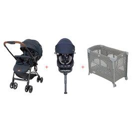 【超值組A】橫輕巧雙向手推車(藍)+i-Spin360汽座全罩款+多功能床邊嬰兒床