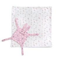 粉色愛心兔多功能包巾禮盒-附安撫巾