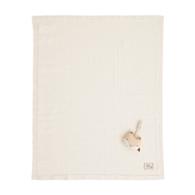 有機棉針織棉毯禮盒-條紋薄款(毯子+安撫玩偶)